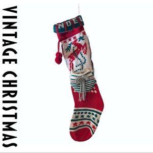 VTG Noel Knit Christmas Stocking Reindeer